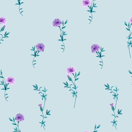 Trendy floral background with wild small flowers and leaves in hand drawn style on light blue.