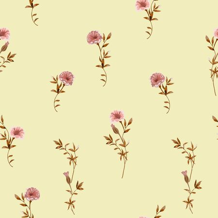 Trendy floral background with wild small flowers and leaves in hand drawn style on yellow. Фото со стока - 142041031