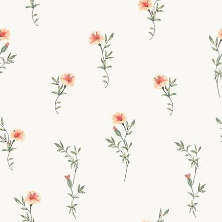 floral background with wild small flowers and leaves Иллюстрация