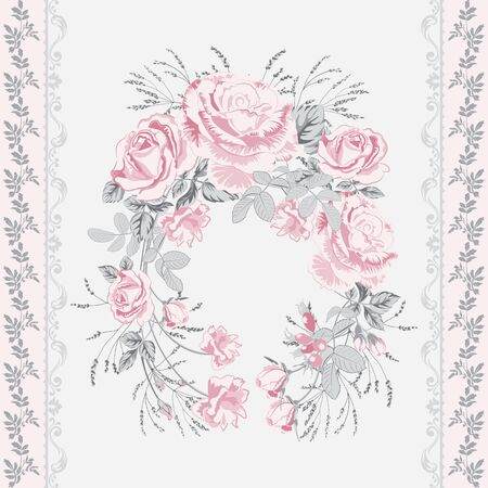 Trendy background with geometric elements and floral motifs pastel colors .Wreath of pink roses flowers and vertical border of twigs with leaves .Vector seamless pattern for fashion prints. Иллюстрация