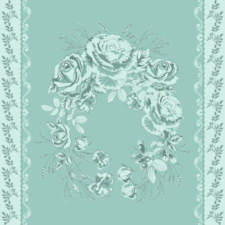 Trendy background with geometric elements and floral motifs pastel colors .Wreath of blue roses flowers and vertical border of twigs with leaves .Vector seamless pattern for fashion prints. Иллюстрация