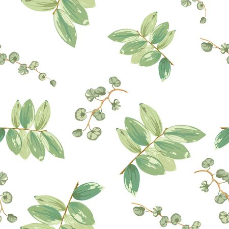 Trendy tropical background with green exotic leaves in style watercolor on white.Botanical motifs scattered random. Vector seamless pattern for fashion prints. Фото со стока - 142041034