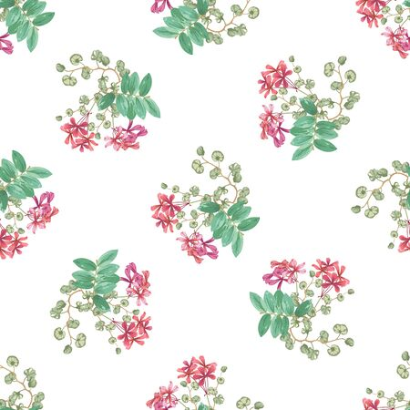 Trendy floral background with small red flowers and twigs with leaves in style watercolor. Blooming botanical motifs scattered random. Vector seamless pattern for fashion prints.