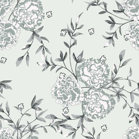 Trendy floral background with roses, large flower buds and twigs with leaves in hand drawn style pastel colors. Blooming botanical motifs scattered random. Vector seamless pattern for fashion prints. Фото со стока - 142041198