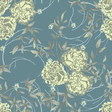 Trendy floral background with roses, large flower buds and twigs with leaves in hand drawn style pastel colors. Blooming botanical motifs scattered random. Vector seamless pattern for fashion prints.