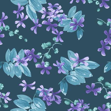 Trendy floral background with small purple flowers and twigs with leaves in style watercolor. Blooming botanical motifs scattered random. Vector seamless pattern for fashion prints. Иллюстрация