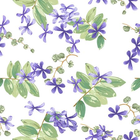 Trendy floral background with small purple flowers and twigs with leaves in style watercolor. Blooming botanical motifs scattered random. Vector seamless pattern for fashion prints. Фото со стока - 142041201