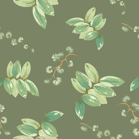 Trendy tropical background with green exotic leaves in style watercolor on dark.Botanical motifs scattered random. Vector seamless pattern for fashion prints. Фото со стока - 142041200