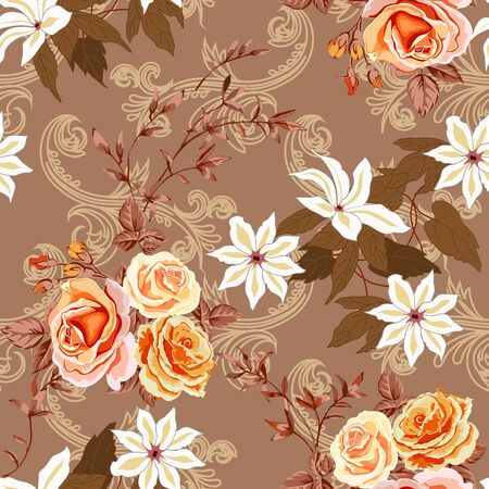 Trendy floral background with yellow and orange roses, white lilies in hand drawn style on beige. Blooming botanical motifs scattered random. Vector seamless pattern for fashion prints. Фото со стока - 142041202