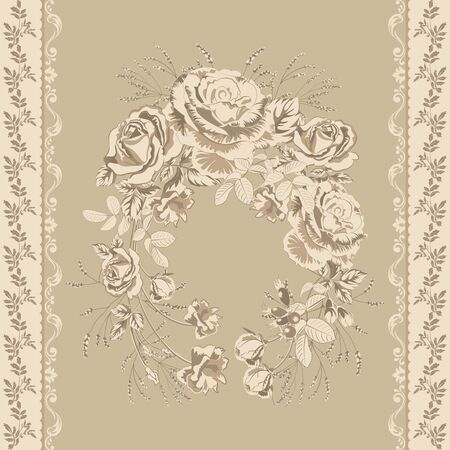Trendy background with geometric elements and floral motifs pastel colors .Wreath of golden roses flowers and vertical border of twigs with leaves .Vector seamless pattern for fashion prints.