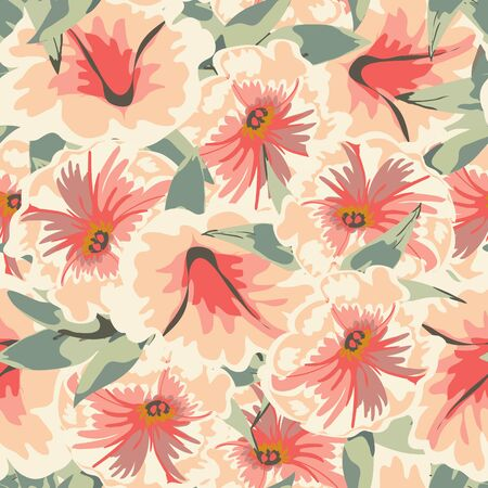 Trendy floral background with flowers petunia and leaves in hand drawn style. Blooming botanical motifs scattered random. Vector seamless pattern for fashion prints. Фото со стока - 142041206
