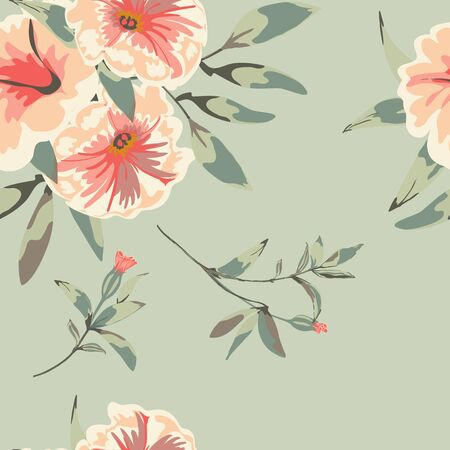 Trendy floral background with flowers petunia and leaves in hand drawn style. Blooming botanical motifs scattered random. Vector seamless pattern for fashion prints.