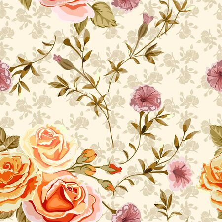 Trendy floral background with yellow, orange roses flowers and twigs with leaves in style watercolor. Blooming botanical motifs scattered random. Vector seamless pattern for fashion prints.