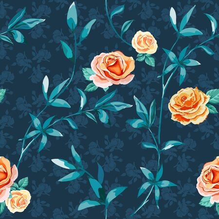 Trendy floral background with yellow, orange roses flowers and twigs with leaves on dark blue. Blooming botanical motifs scattered random. Vector seamless pattern for fashion prints.