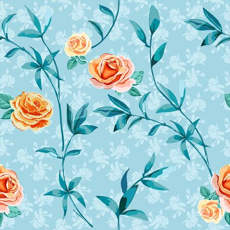 Trendy floral background with yellow, orange roses flowers in style watercolor on light blue. Blooming botanical motifs scattered random. Vector seamless pattern for fashion prints. Фото со стока - 142041212