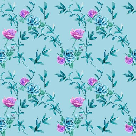 Trendy floral background with blue, lilac roses flowers and twigs with leaves on light blue. Blooming botanical motifs scattered random. Vector seamless pattern for fashion prints. Фото со стока - 142041214