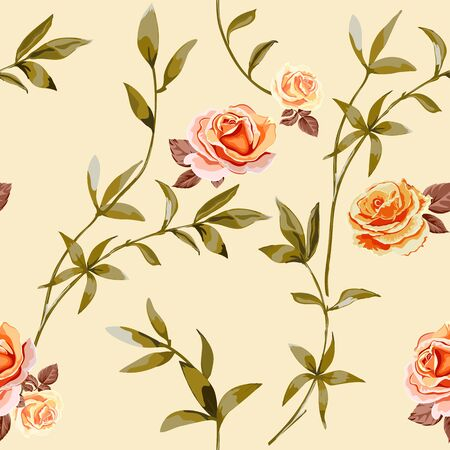 Trendy floral background with yellow, orange roses flowers and twigs with leaves in style watercolor. Blooming botanical motifs scattered random. Vector seamless pattern for fashion prints. Фото со стока - 142041219