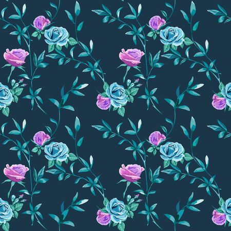 Trendy floral background with blue, lilac roses flowers and twigs with leaves in hand drawn style on dark blue. Blooming botanical motifs scattered random. Vector seamless pattern for fashion prints. Иллюстрация