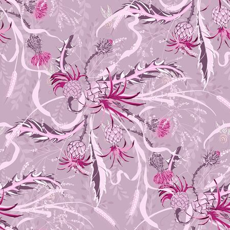 Composition of a thistle flower. Seamless pattern with Milk Thistle on background of pastel colors. Vector botanical illustration.