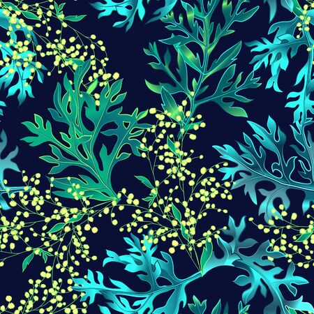 Seamless pattern with colorful tropical leaves and little flowers on dark blue background.