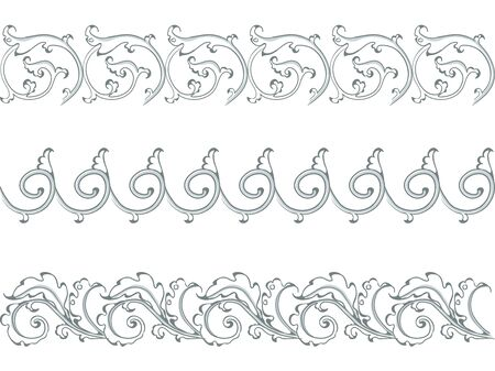 Antique ornament in style baroque of acanthus leaves. Vector black and white set.