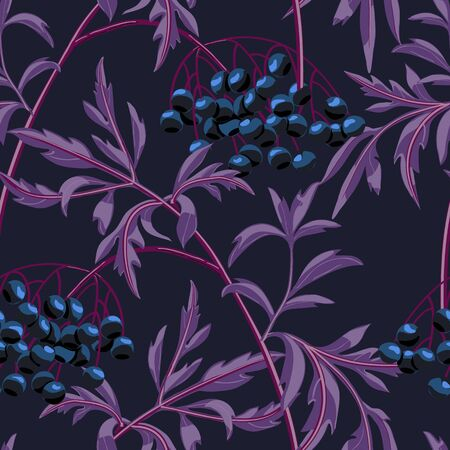 Black elderberry branch with berries and leaves on navy blue background. Vector seamless pattern.