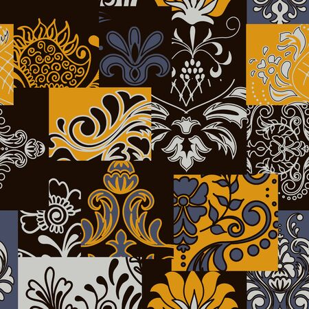 Bandanna patchwork fabric. Flap fabric with damask ornaments. Vector seamless pattern in custom colors Фото со стока - 148423147