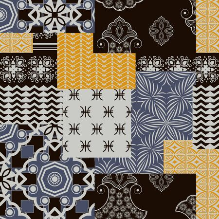 Bandanna patchwork fabric. Flap fabric with geometric ornaments. Vector seamless pattern in custom colors