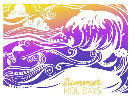 Paper art carving of sea wave, Dolphin and beach.Summer vacation background.
