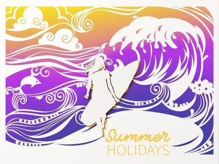 A girl walks along the sea sand with a surfboard. Paper cut style of waves and palms.