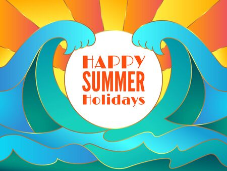 Happy summer holidays banner design and blue water surface. Flat abstract big waves of the sea or ocean landscape.