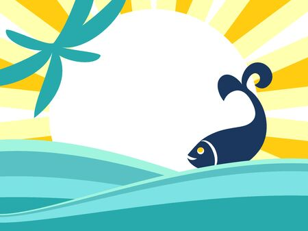 Flat banner design with abstract waves of the sea, sun, palm tree, fish. Vector background of seascape and blank space.