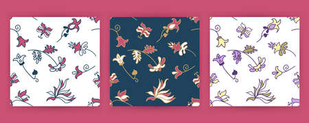 Vector set cards of seamless pattern with flowers and butterfly in Scandinavian style. Иллюстрация
