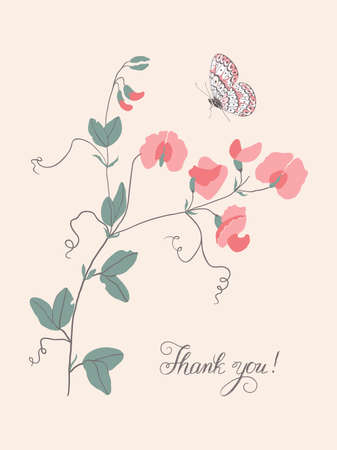 Thank you, lettering. Vertical greeting card with grass mouse peas with flowers and butterfly.