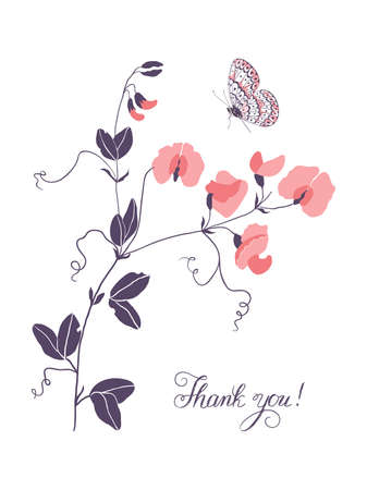 Thank you, lettering. Vertical greeting card with grass mouse peas with flowers and butterfly