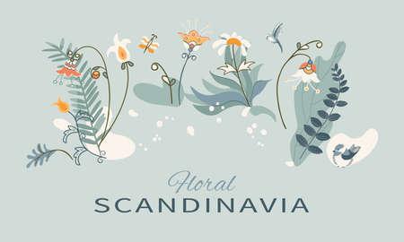 Arrangement flowers, birds and butterfly in Scandinavian style on white background. Иллюстрация