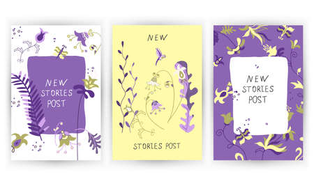 New post stories, vector set cards of lettering with flowers, bird and butterfly in Scandinavian style. Иллюстрация