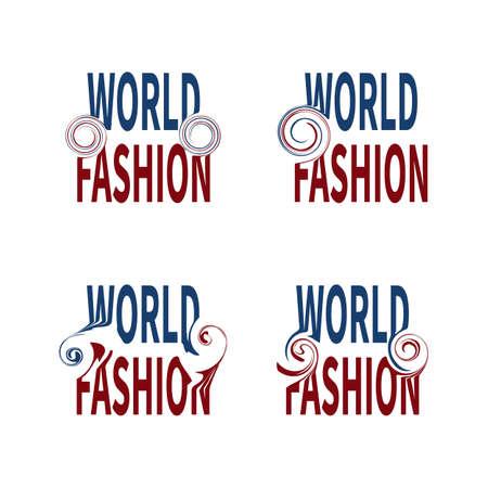 Set of sign WORLD FASHION Futuristic style typography on white background.