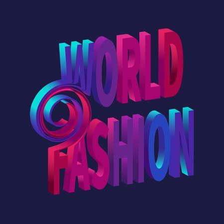 Sign WORLD FASHION Futuristic style typography on blue background.