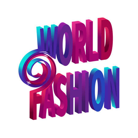 Sign WORLD FASHION Futuristic style typography on white background.