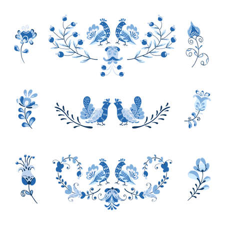 Vector set of arrangement flowers and birds in Scandinavian style on white background.