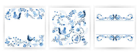 Vector set greeting card with flowers, birds in Scandinavian style. Abstract minimal design