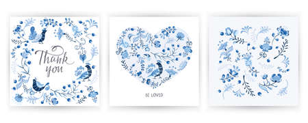 Vector set greeting card with flowers, birds in Scandinavian style. Abstract minimal design Ilustração