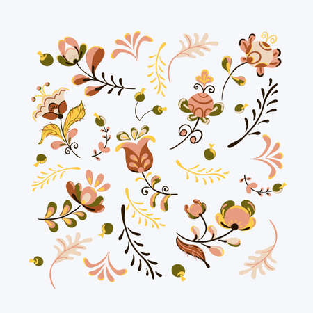 Vector floral ornament with flowers and bird sheart shaped in russian folk art painting style