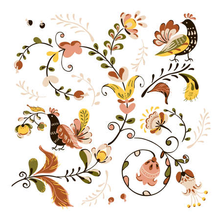 Vector floral ornament with flowers and birds in russian folk art painting style