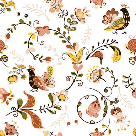 Vector floral ornament square frame with flowers and bird in russian folk art painting style Иллюстрация
