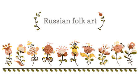 Vector floral ornament border with flowers and birds in russian folk art painting style
