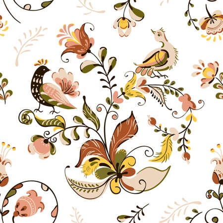Vector floral seamless pattern with flowers and birds in russian folk art painting style