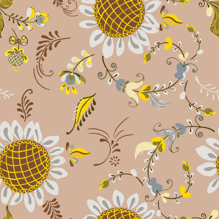 Vector floral seamless pattern with flowers sunflower in russian folk art painting style Иллюстрация