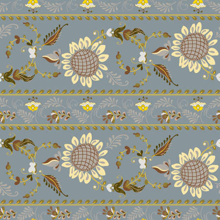 Vector floral seamless pattern with flowers sunflower in russian folk art painting style Ilustração